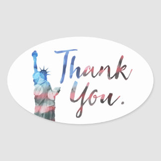 Statue of Liberty Thank You Veterans Oval Sticker