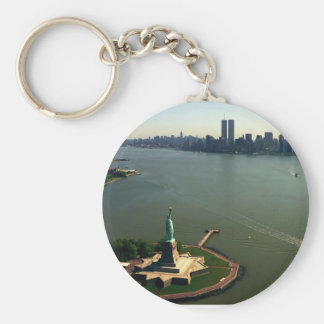 Statue of Liberty, Twin Towers May 2001 Basic Round Button Keychain