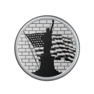 Statue of Liberty/US Flag B&W Portable Speakers