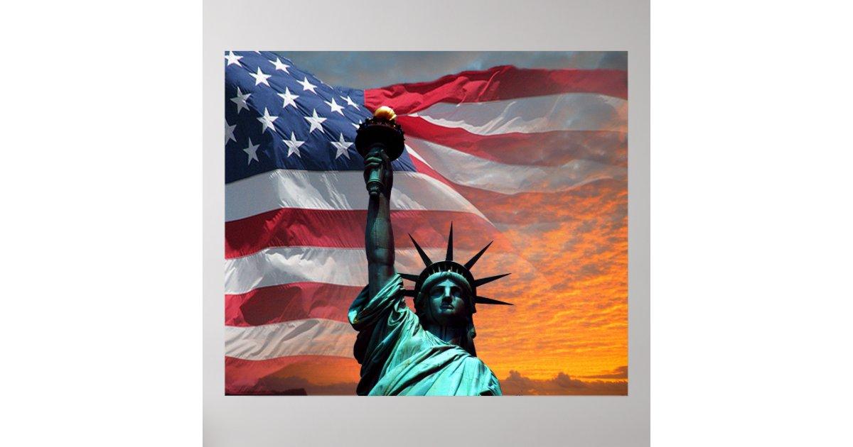 Statue Of Liberty Us Flag Poster Zazzle Com