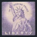 "Statue of Liberty US Vintage Postage Stamp Stone Coaster<br><div class=""desc"">Vintage USA Postage Stamp</div>"