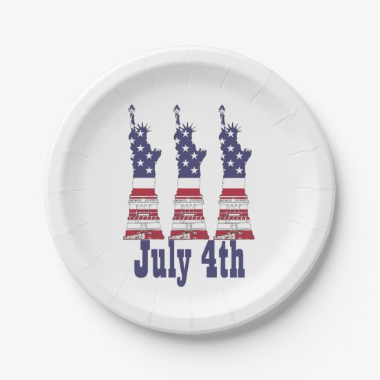 Statue of Liberty, USA Flag, July 4th Paper Plates