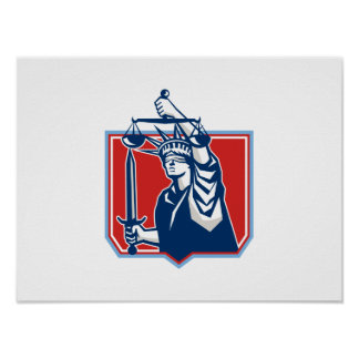Statue of Liberty Wielding Sword Scales Justice Poster
