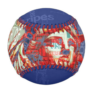 Statue of Liberty with 4th of July Typography Baseball