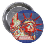 Statue of Liberty with 4th of July Typography 3 Inch Round Button