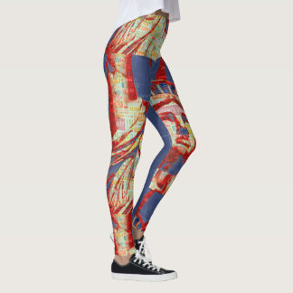Statue of Liberty with 4th of July Typography Leggings