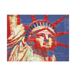 Statue of Liberty with 4th of July Word Cloud Canvas Print