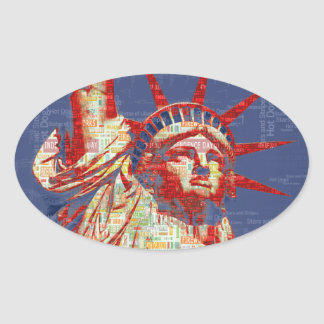Statue of Liberty with 4th of July Word Cloud Oval Sticker