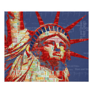 Statue of Liberty with 4th of July Word Cloud Poster