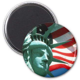 STATUE OF LIBERTY WITH AMERICAN FLAG 2 INCH ROUND MAGNET