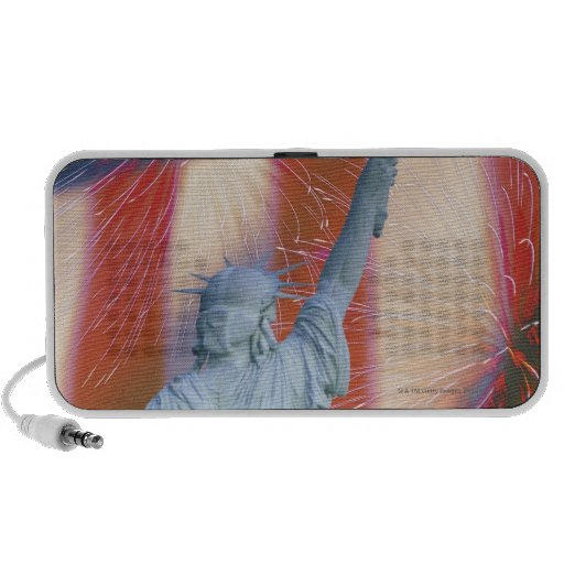 Statue of Liberty with American flag and Travel Speaker
