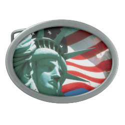 STATUE OF LIBERTY WITH AMERICAN FLAG OVAL BELT BUCKLE