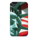 STATUE OF LIBERTY WITH AMERICAN FLAG iPhone 4/4S CASES