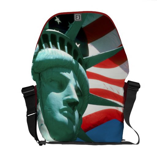 STATUE OF LIBERTY WITH AMERICAN FLAG MESSENGER BAGS