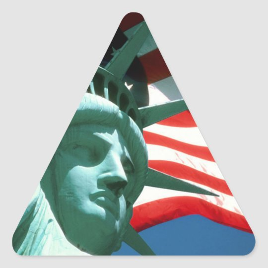 STATUE OF LIBERTY WITH AMERICAN FLAG TRIANGLE STICKER