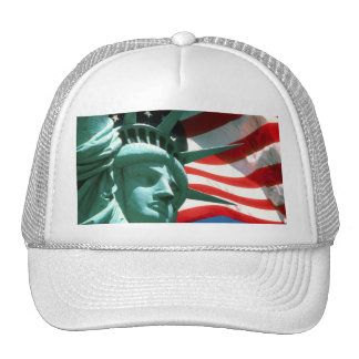 STATUE OF LIBERTY WITH AMERICAN FLAG TRUCKER HAT
