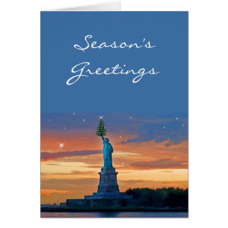 Statue of Liberty with Christmas Tree Card