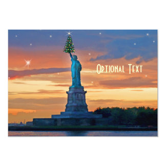 Statue of Liberty with Christmas Tree Custom Card