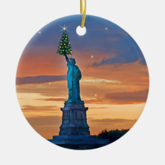 Statue of Liberty with Christmas Tree Double-Sided Ceramic Round Christmas Ornament