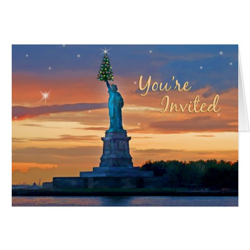 Statue of Liberty with Christmas Tree Invited Greeting Card