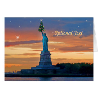 Statue of Liberty with Christmas Tree Personalize Greeting Card