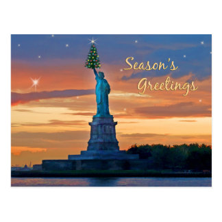 Statue of Liberty with Christmas Tree Post Card
