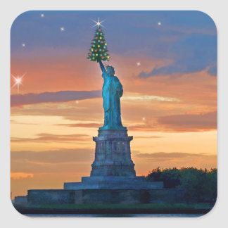 Statue of Liberty with Christmas Tree Square Sticker