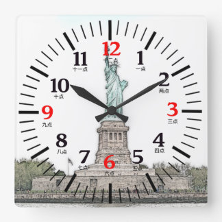 Statue of Liberty with English/Chinese Numerals Square Wall Clock
