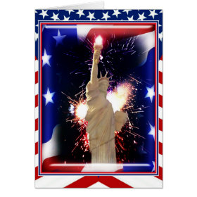 Statue of Liberty with Fireworks for 4th of July Greeting Cards
