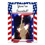 Statue of Liberty with Fireworks for 4th of July Personalized Invites
