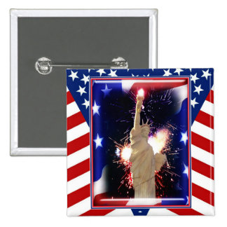 Statue of Liberty with Fireworks for 4th of July Pinback Button