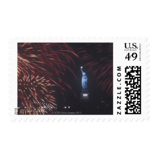 Statue of Liberty with fireworks Postage