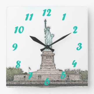 Statue of Liberty with Green Numerals Square Wall Clock