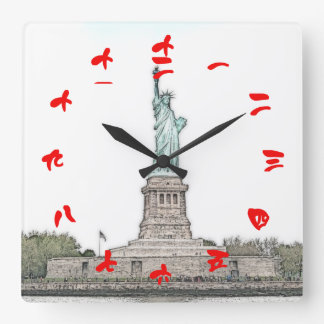Statue of Liberty with Red Chinese Numerals Square Wall Clock
