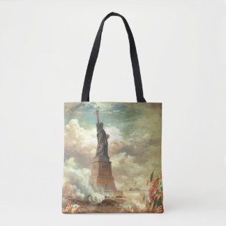 Statue of Liberty With Vintage Flags and Battle Tote Bag