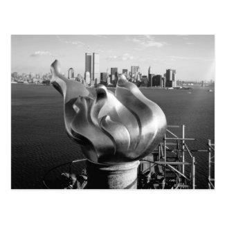 Statue of Liberty's Flame and Manhattan Skyline Postcards