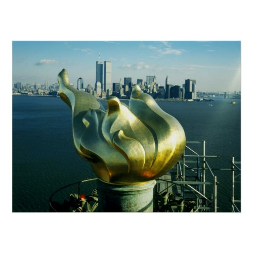 Statue of Liberty's Flame and Manhattan Skyline Poster