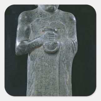 Statue of Prince Gudea, c.2150 BC Square Stickers