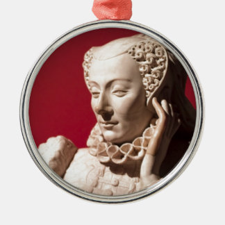 Statue of reclining woman in marble round metal christmas ornament