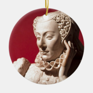 Statue of reclining woman in marble Double-Sided ceramic round christmas ornament