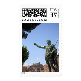 Statue of Roman emperor near the Roman Forum Postage Stamp