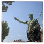 Statue of Roman emperor near the Roman Forum Tiles