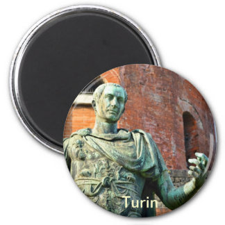 Statue of roman on front or ancient ruins magnet