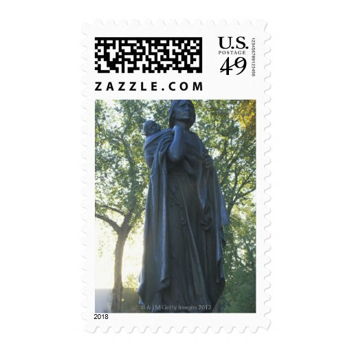 'Statue of Sacagawea and her son, guide on the Postage