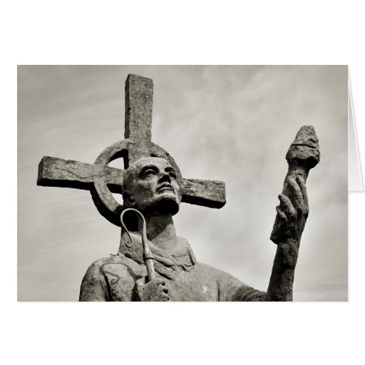 Statue of St Cuthbert - Lindisfarne Greeting Card