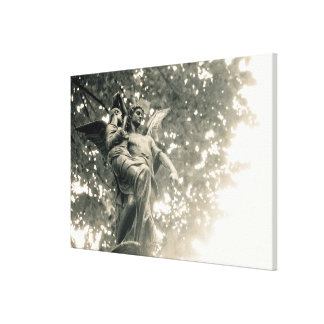 Statue of St Michael, Pere Lachaise Cemetery, Canvas Print