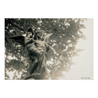 Statue of St Michael, Pere Lachaise Cemetery Poster