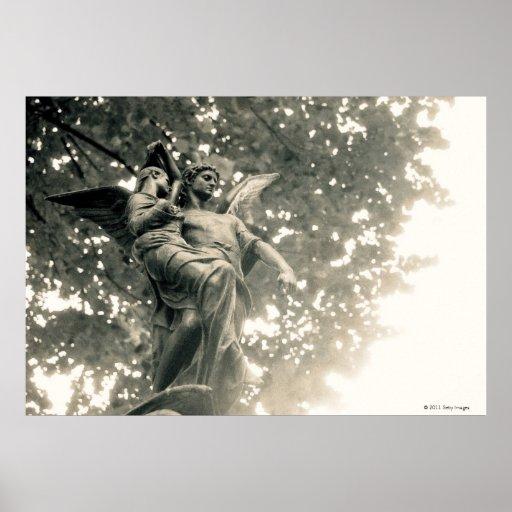 Statue of St Michael, Pere Lachaise Cemetery Print