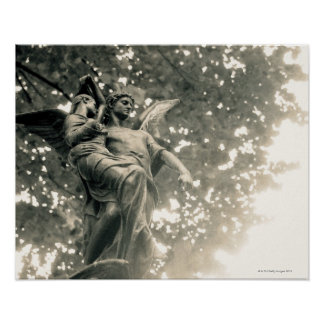 Statue of St Michael Pere Lachaise Cemetery Poster