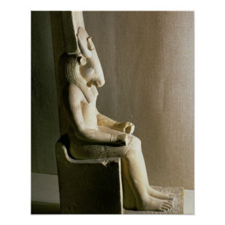 Statue of the god Montu with the head of a bull, f Poster
